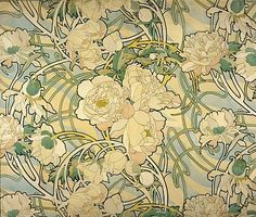 Alphonse Mucha, Peonies, 1897-98, ink and watercolour on paper