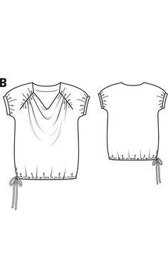 Burda Patterns, Knitting Patterns, Sewing Patterns, Shirts & Tops, Tees, Tee Shirts, T Shirt Sketch, Pattern Draping, Flat Sketches