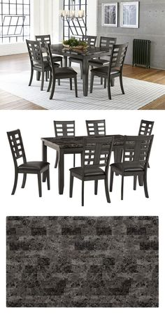 For a compact dining set that doesn't sacrifice any style, the Canaan seven-piece set is great for a family with elevated taste. The marble lookalike table top matched with the slat-back slate grey chairs offer a perfect balance for the traditional dining space. #shopgahs #diningtable #diningroom #diningfurniture #tableandchairs #kitchentable #diningdecor #marbletoptable