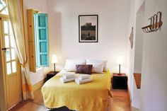 """Bed & Breakfast in Marrakesh, Morocco. Welcome to Riad Helen ! The """"yellow bedroom"""" is located on first floor of Riad Helen. The Room is equipped with a double bed (140x190 cm) and wardrobes. The bathroom, covered with tadelakt (traditional coating), has shower and WC. You will find ..."""