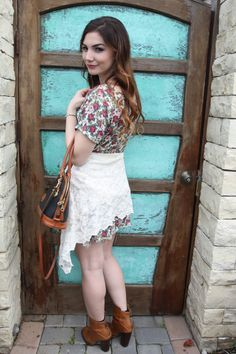 Floral and Lace - floral dress, lace cardigan, layered spike necklace, vintage dooney and bourke, chinese laundry booties, river island bracelet, spring fashion, blogger style, ellie connard Check out the site for flirty spring dresses! LONGHAIRAFFAIR.COM