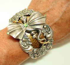 Romantic Goth Art Nouveau Bracelet Dragon Bracelet by DesignsBloom