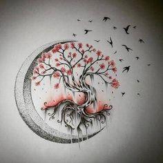 Tree Tattoo Designs, Tattoo Design Drawings, Tattoo Sketches, Art Drawings, Drawings Of Tattoos, Drawings Of Trees, Nature Tattoos, Body Art Tattoos, New Tattoos