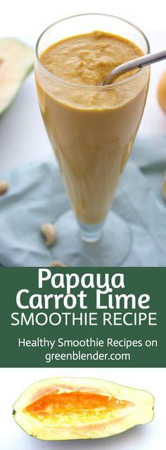 Papaya Carrot Lime Smoothie Recipe by Green Blender
