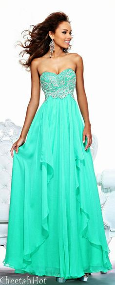 Sherri hill couture strapless maxi mint dress PERFECT FOR BRIDESMAIDS PEACOCK WEDDING
