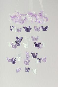 Butterfly Mobile in Lavender Purple & White by LoveBugLullabies
