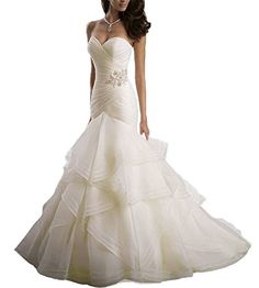 Beauty Bridal Sweetheart Ruffle Organza Women Mermaid Wedding Dresses12Ivory * For more information, visit image link.