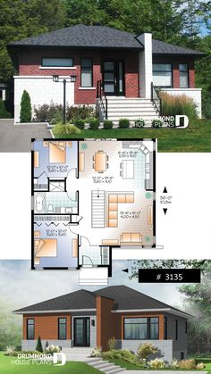 Abundantly fenestrated, two bedroom modern house plan with open floor plan concept and lots of natural lights  #modern #bungalow #houseplan #homeplan #economical