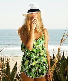 Ladies beachwear open tie kaftan. Green palm tree pattern & cotton lace trim. Available wholesale in packs of 12.