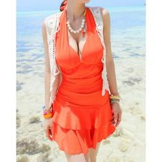 Sweet Halterneck Ruffled Double-Layered Flounce One-Piece Swimsuit For Women