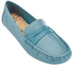 70.27$  Buy now - http://viyae.justgood.pw/vig/item.php?t=ol5v6738447 - Isaac Mizrahi Leather Moccasins Oval Toe Snake Trim Pale Blue 7.5M NEW A262121