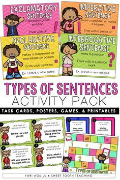 Review the four types of sentences with your elementary students using this engaging activity pack! The resource includes task cards, posters, game board, and printables that can be used with 1st-3rd grade students. Reviews commands, statement, questions, and exclamations. Teaching Grammar, Teaching Writing, Teaching Ideas, Elementary Teacher, Upper Elementary, Elementary Schools, Making Sentences, Types Of Sentences, Teacher Blogs
