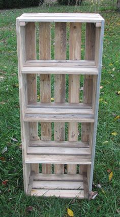 'm making more display crates. The crates are made from reclaimed pallets. I have several sizes now. This one is 48 inches tall, 18 1/2 inches wide and 11 inches deep, with 4 shelves inside.  Custom sizes are available.  I'm taking this one to Kentucky Soaps and Such. They sell my furniture and accessories. Stop by and take a look if you're in the area. You can order them on my etsy store: http://www.etsy.com/shop/KyRusticFurniture