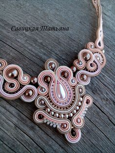 Bridal Cream Soutache Necklace-Soutache Cream от MagicalSoutache