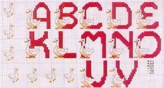 Alfabeto con ocas, para punto de cruz.