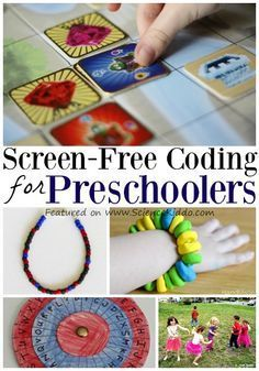 Screen-free and hands-on activities to teach coding for preschool and kindergarten. Play board games, make binary code jewelry, and invent secret spy codes. Coding for kids is easy and fun! Technology for Kids Hands On Activities, Toddler Activities, Preschool Activities, Preschool Science, Science For Kids, Science Ideas, Science Resources, Earth Science, Teaching Kids