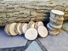 50 qty 1.5 to 2 wood slices tree branch slices by KrystlesWeddings BRAND NEW