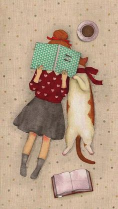 Girl with her cat reading a book illustration. - Girl with her cat reading a book illustration. Bookworm drawings, adorable book … – girl with h - Illustration Mignonne, Cute Illustration, Illustration Pictures, Illustration Animals, Cat Reading, Reading Books, Girl Reading, Art Mignon, Cat Love