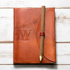 Letter W Alphabet Handmade Leather Journal