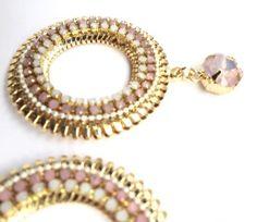Oorbellen Golden summer circle - Pink