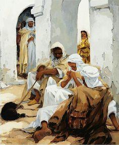 Algérie - Peintre Néerlandais,   VAN MENS Isidore (1890-1985 ), huile sur toile,Titre : Sous les arcades ,   Ghardaïa