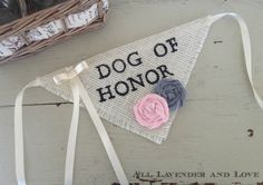 Ivory Ring Bearer Dog Of Honor Girl Collar with Flowers Bandana Rustic Burlap Wedding Photo Prop on Etsy, $24.00