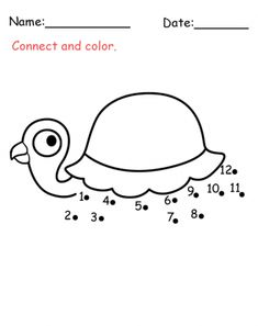 Turtle Connect The Dots Activity! Make this for a quite book. Use felt for the turtle shapes and stitch on yarn at the #1 long enough to use to connect the dots.