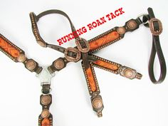 Orange Aztec Tack Set with Copper Indian Chief Conchos by Running Roan Tack