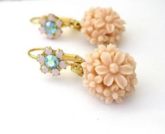 Palest pink and aqua flower Earrings Drop Dangle by PrettyDuzz