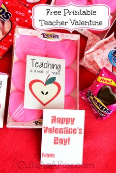 Teaching is a work of Heart - Free Printable Teacher Valentines