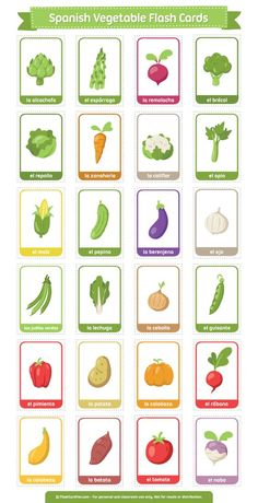 Free printable Spanish Vegetable flash cards. Download the PDF at http://flashcardfox.com/download/spanish-vegetable-flash-cards/