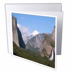 3dRose El Capitan and Bridalveil Falls in Yosemite National Park, Greeting Cards, 6 x 6 inches, set of 6