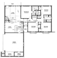 Ranch Style House Plans - 1500 Square Foot Home, 1 Story, 4 Bedroom and 2 3 Bath, 2 Garage Stalls by Monster House Plans - Plan House Plans One Story, Dream House Plans, Small House Plans, House Floor Plans, Dream Houses, 4 Bedroom House Plans, Ranch House Plans, Home Design Plans, Plan Design
