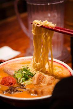 Kyushu Jangara ramen. Creamy pork broth soup. Pork belly. BBQ pork. Mushroom. Bamboo shoots. Spicy roe. Spring onion.