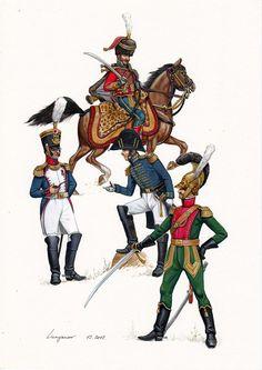 Colonnello di fanteria della linea, colonnello dell'artiglieria a cavallo, colonnello di stato maggiore e colonnello dei lancieri della linea francese
