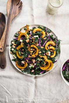 Kale Salad with Roasted Delicata Squash and Orange Maple Hemp Dressing