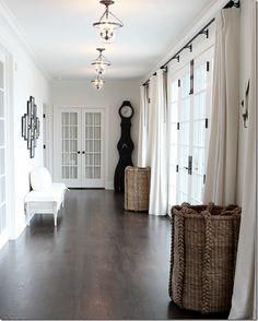 French Doors, Tall Baskets,Mora Floor Clock, Trio of Bell Jar Semi Flush Lanterns & Dark Wide Plank Flooring