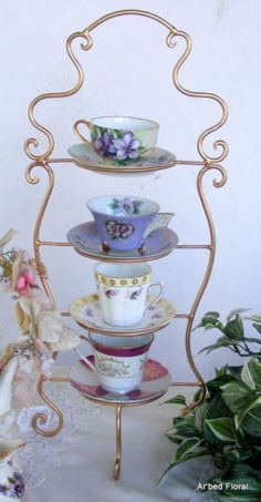 IRON Tea Cup Saucer Display Stand 4 Tiered Gold Holder
