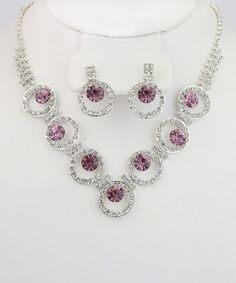 Another great find on #zulily! Silver & Pink Gem Circle Necklace & Earrings Set by By the Bay #zulilyfinds