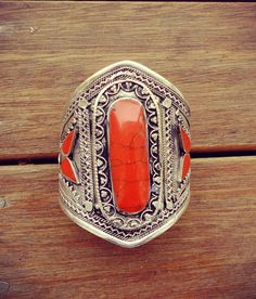 Beautiful Orange Onyx Stone Cuff Bracelet Ethnic by GypsyCult