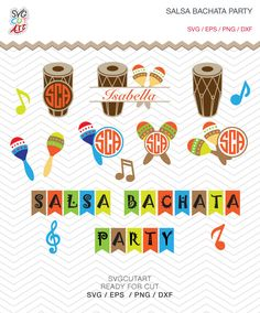 Salsa Bachata Party maracas bongo SVG DXF PNG eps Dancing Cut Files for Cricut Design, Silhouette studio, Sure Cut Lot, Makes Cut by SvgCutArt on Etsy