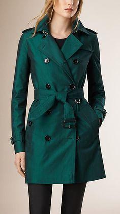 Dark teal melange Gabardine Trench Coat with Wool Warmer - Image 2