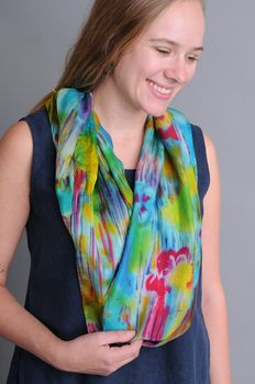 Hand-dyed silk scarf by Indonesian artisan Khadir Supartini.   One-of-a-kind.   Offered by Sympatico Clothing.