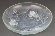 "Lot 55, A Verlys Art Deco opalescent shallow bowl decorated with horse chestnuts 12"" est £60-80"