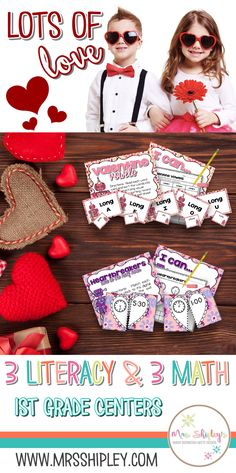 Valentine's is such a fun time in the first grade classroom! These Valentine's themed literacy and math centers are perfect for your small group instruction the week of Valentine's Day! My students stayed engaged amongst the hectic chaos that can come with party week. Click the image to buy these engaging easy prep centers for first grade.