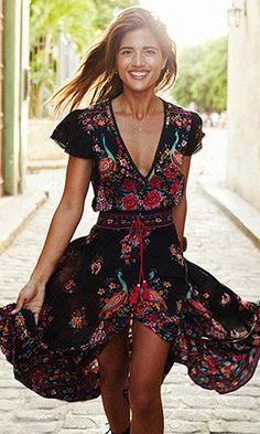 BellFlower Summer Boho Dress Etehnic Sexy Print Retro Vintage Dress
