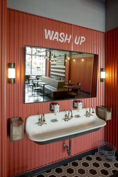 Rapt Studio helped rediscover own magic of J. Dawgs, Hot Dog Bistro in Salt Lake City Hand wash station at J. Dawgs Hot Dog Bistro in Salt Lake City. Salt Lake City, Restaurant Bathroom, Downtown Restaurants, Restroom Design, Toilet Design, Restaurant Interior Design, Studio Interior, Cafe Design, Commercial Interiors