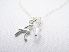 Initial charm necklace sterling silver by JanuaryGirlJewelry, $26.00