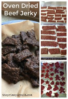 Home Made Oven Dried Beef Jerky. Easy Whole 30 snack chemical free sugar free No equipment needed! Paleo Beef Jerky Recipe, Homemade Beef Jerky, Jerky Recipes, Homemade Sushi, Homemade Recipe, Whole30 Recipes, Oven Jerky, Venison Jerky, Deer Recipes