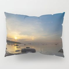 Sun with faint halo over the calm sea and reef rocks Pillow Sham by Tapuphoto (Tapani Teittinen) Pillow Shams, Halo, Nature Photography, Tapestry, Throw Pillows, Sea, Rocks, Home Decor, Pillowcases